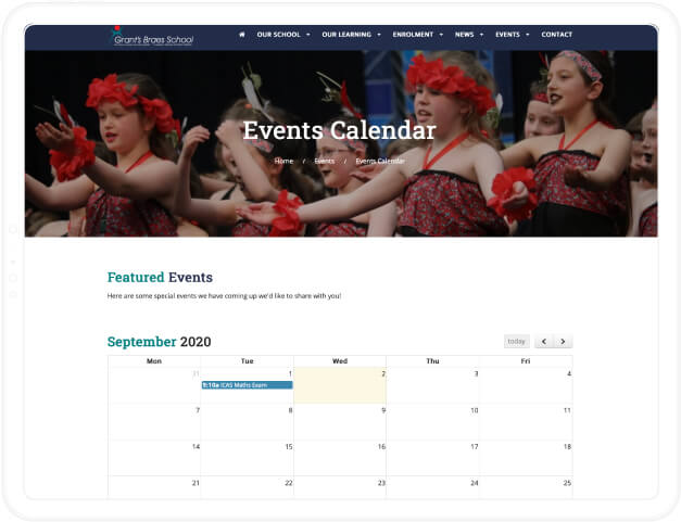 embed google calendar on your school website to show events in the community